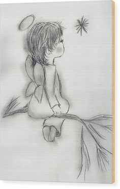 Angel Drawing - Angel Wishing on a Star by Sonya Chalmers Sketches, Angel Pictures, Baby Drawing, Drawings, Art Drawings Sketches, Angel Drawing, Drawing Sketches, Cute Drawings, Angel Painting