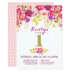 #gold - #First Birthday Watercolor Floral Gold Glitter Card