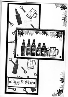 beer birthday card using card-io stamps.all black and white Masculine Birthday Cards, Birthday Cards For Men, Handmade Birthday Cards, Masculine Cards, Handmade Cards, Boy Cards, Men's Cards, Cardio Cards, Easel Cards