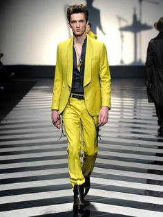Yellow suit by Roberto Cavalli Menswear Fall/Winter 2012-13 .
