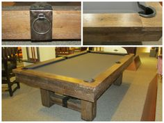 The Merrimack pool table, by Brunswick, provides old world craftsmanship. With hand hammered metal hardware and distinctive artisan joinery, this classic design provides rugged and rustic qualities with the modern technology of precision, stability, and playability.