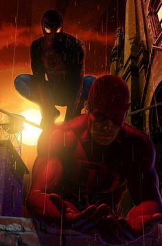 #Spiderman #Fan #Art. (Spider-Man & Daredevil) By: Greg Horn. (THE * 5 * STÅR * ÅWARD * OF: * AW YEAH, IT'S MAJOR ÅWESOMENESS!!!™)[THANK Ü 4 PINNING!!!<·><]<©>ÅÅÅ+(OB4E)