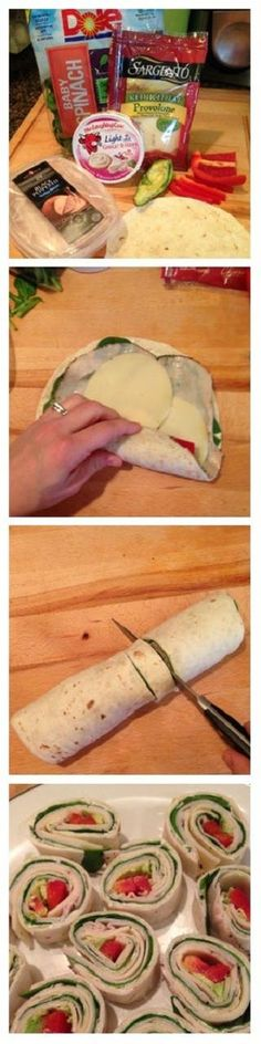 Easy Avocado and Provolone Turkey Wraps