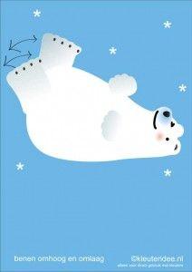 Bewegingskaarten ijsbeer voor kleuters 5, benen omhoog en omlaag , kleuteridee.nl, thema Noorpool, Movementcards for preschool,  free printa...