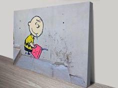 Banksy Charlie Brown   http://www.canvasprintsaustralia.net.au/product/banksy-charlie-brown-arsonist-canvas-print/