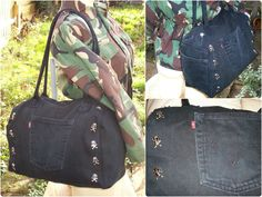 Multiple views of up-cycled mini duffel bag made from black Levi's jeans, with skull studs