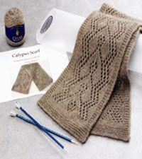 Calypso Lace Scarf Kit - Designed by Eugen Buegler with Qiviut  available on signatureneedlearts.com try it with Panda Silk or Windy Valley Musk Ox Qiviut