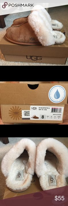 Ugg slippers - scuffette II size 8 These are in original box and like new  as you can see. They were only a few times since Christmas. UGG Shoes Slippers