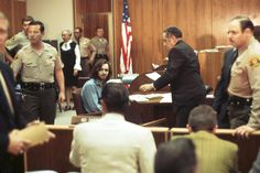 Charles Manson sits in the courtroom during his murder trial in 1970 in Los Angeles, California. (Photo by Michael Ochs Archives/Getty Images)  via @AOL_Lifestyle Read more: https://www.aol.com/article/news/2017/02/01/manson-follower-bruce-davis-is-up-for-parole-again/21705327/?a_dgi=aolshare_pinterest#fullscreen