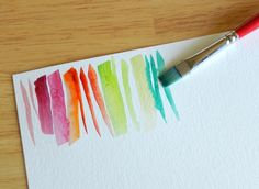 Abstract Stripes Watercolor Painting Tutorial  Idea: stripy block cards