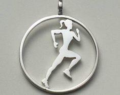 Pendientes o colgante corredoras de plata. Aros. Joyeria deportiva. Joyas hechas a mano - Editar anuncio - Etsy
