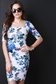 Floral U-Neck Bodycon Mini Dress