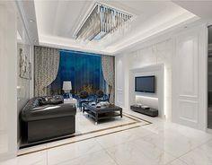 BuildDirect – Mirco Crystal Porcelain Tile - Venus Marble Series – Arabascato Polished  - Living Room View