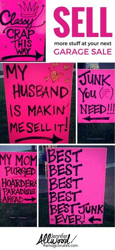 how to advertise for a Garage Sale with Clever Signs Yard Sale Signs Funny, Garage Sale Signs, Funny Signs, Garage Sale Pricing, Garage Sale Organization, Organizing, Organization Ideas, Neighborhood Garage Sale, Craft Font
