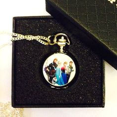 Elise Gift Boxed Frozen - Disney Princess Quartz Pendant/Necklace Watch with Silver Plated chain.