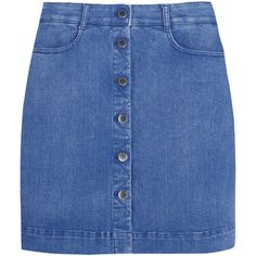 Stella McCartney Stretch-denim mini skirt ($565) ❤ liked on Polyvore featuring skirts, mini skirts, bottoms, faldas, saias, blue, mini skirt, short blue skirt, stella mccartney and stretch denim mini skirt