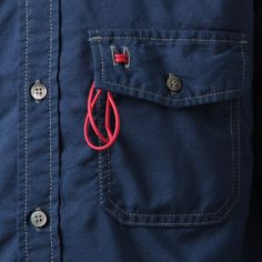 and wander / アンドワンダー color ox shirt - Blue 正規通販取扱
