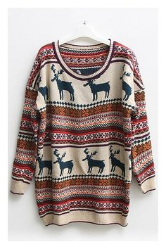 Nordic Print Oversized Knitted Jumper I love this sweater it looks so cozy Look Boho, Look Chic, Polyvore Outfits, Fall Winter Outfits, Autumn Winter Fashion, Winter Wear, Casual Christmas Outfits, Cozy Christmas Outfit, Mode Outfits