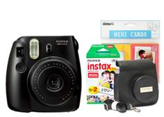 Fuji Instax Mini 8 Black Bundle inc. Black Camera, Case Strap, Love Cards & 20 Pk Film