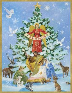 Nativity and Tree Holiday Cards