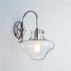 Modern Clear Schoolhouse Globe Wall Sconcehttp://www.shadesoflight.com/modern-clear-schoolhouse-globe-wall-sconce-4-finishes.html