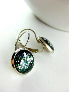 Nail Polish Jewelry with Silver Flecks love it! must try! www.eCrafty.com for glass tiles, bezels, bails, jewelry supplies