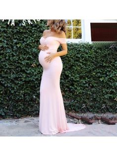 Maternity Off Shoulder Floor-Length Dress – lukalula Cheap Maternity Clothes Online, Maternity Dresses For Baby Shower, Cute Maternity Outfits, Pregnancy Outfits, Maternity Fashion, Pink Baby Shower Dress, Pregnancy Dress, Maternity Pics, Cute Baby Shower Dresses
