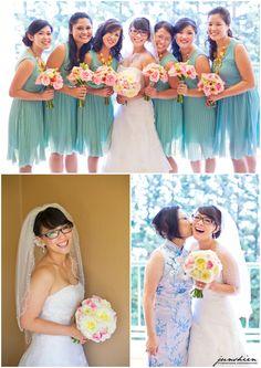 mint chiffon bridesmaid dresses, glasses bride, organza wedding dress, pink flowers