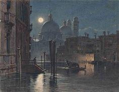"""""""Venice under moonlight"""" by Carl Friedrich Heinrich Werner"""