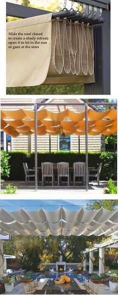 Pergola shade with retractable shade cloth Backyard Shade, Outdoor Shade, Patio Shade, Pergola Shade, Backyard Patio, Pool Shade, Pergola Canopy, Pergola Planter, Awning Gazebo