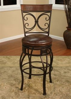 Hillsdale Faux Leather Upholstered Wrought Iron Swivel