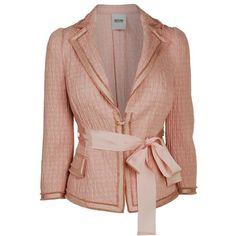 MOSCHINO CHEAP & CHIC Crinkle Belted Jacket ($575) ❤ liked on Polyvore featuring outerwear, jackets, blazers, coats, tops, pink light, 3/4 sleeve blazer, 3/4 sleeve jacket, pocket jacket and beige blazer