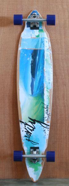 "Gravity 45"" Bamboo Pintail Longboard Complete... sick board"
