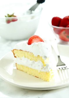 This gluten free sponge cake is light and airy, and so simple to make. Serve it with fresh whipped cream and strawberries on a hot day. It's perfect for Memorial Day, or any day!