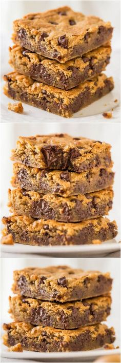 Peanut Butter Chocolate Chip Bars - Super soft bars that just melt in your mouth from all the PB! And all the chocolate!! Must.make.now!!: