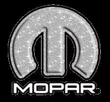 Silver sparkling Mopar logo