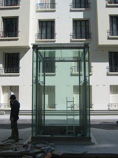 Glass Elevator EMCH, Boulogne Paris by yayagougou, via Flickr