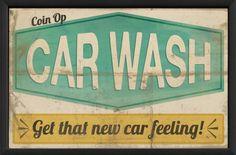 The Artwork Factory Coin Op Car Wash Framed Vintage Advertisement Diy Wall Art, Framed Wall Art, Car Wash Sign, Brimfield Antique Show, Car Wash Business, 1950s Car, Vintage Metal Signs, Typography Inspiration, Vintage Posters