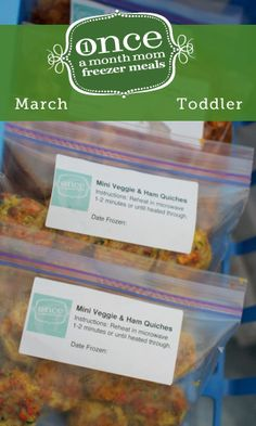 Toddler Mini Freezer Menu April- Fill your freezer with toddler friendly meals to keep lunch and snack time stress free! #freezercooking #kids #toddlers