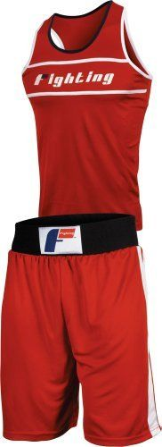 """Fighting Sports Amateur Boxing Set 2, Red, Large by Fighting Sports. $30.52. The perfect blend of poly dazzle micro moisture wicking material is cut thin for a super lightweight, restriction free ring outfit that will impress everyone. Complete with shorts and racerback jersey top. Shorts come with extra wide 4"""", 7-strand elastic contrast waistband, side stripes, leg slits and extra long length. Jersey is cut in racerback style with shoulder straps they stay secure and wont..."""