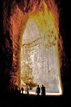 Ear of Dionysius ~ is a limestone cave carved out of the Tremenites hill in the city of Syracuse, on the island of Sicily. The name comes from the similarities to the human ear.