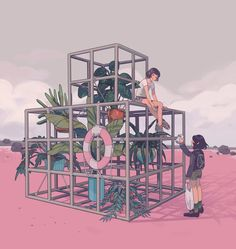 Idea: Some guy turned the old jungle gym into a garden