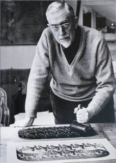 M.C. Escher in his studio