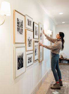 Hallway Pictures, Family Pictures On Wall, Display Family Photos, Family Photo Frames, Family Picture Walls, Gallery Wall Layout, Photo Wall Layout, Gallery Walls, Wall Frame Layout