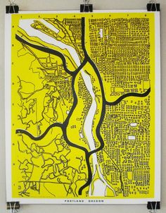 Simple map of Portland Portland Oregon Map, Oregon Travel, Yellow Art, Mellow Yellow, Map Globe, Old Maps, City Maps, Architecture Drawings, Map Design
