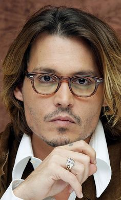 Johnny Depp, male actor, celeb, glasses, hand, fingers, steaming hot, sexy, eye candy, portrait, photo