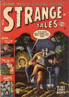 Cover for Strange Tales (Marvel, 1951 series) Pulp Fiction Comics, Pulp Fiction Book, Horror Comics, Marvel Comics, Scary Comics, Ec Comics, Marvel Vs, Horror Art, Vintage Comic Books