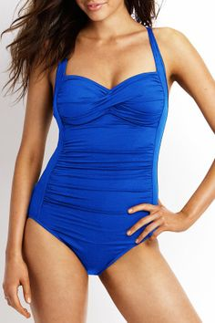 Seafolly - Goddess Twist Bandeau Maillot - Womens One Piece swimwear Blue Lapis So cute!!