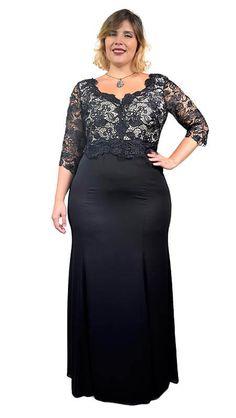 a84200c32d Vestido Plus Size Festa com Renda Guippir e Crepe Chiffon – Moda Maior Plus  Size