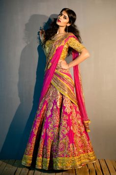 This Satya Paul lehenga will look striking at your sangeet party.